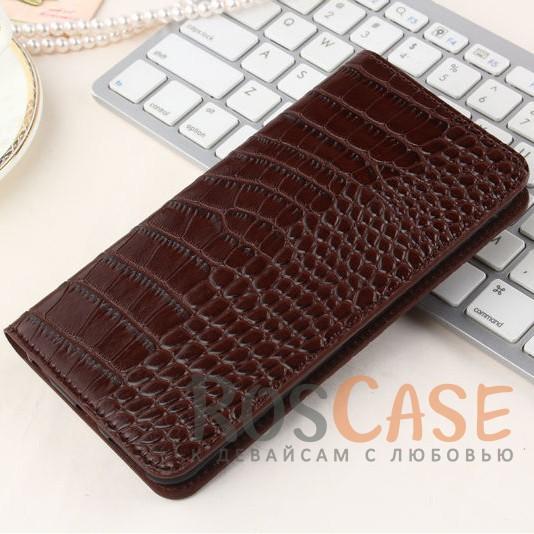 Кожаный чехол-книжка с имитацией кожи крокодила для Meizu M3 Note (Коричневый)<br><br>Тип: Чехол<br>Бренд: Epik<br>Материал: Искусственная кожа