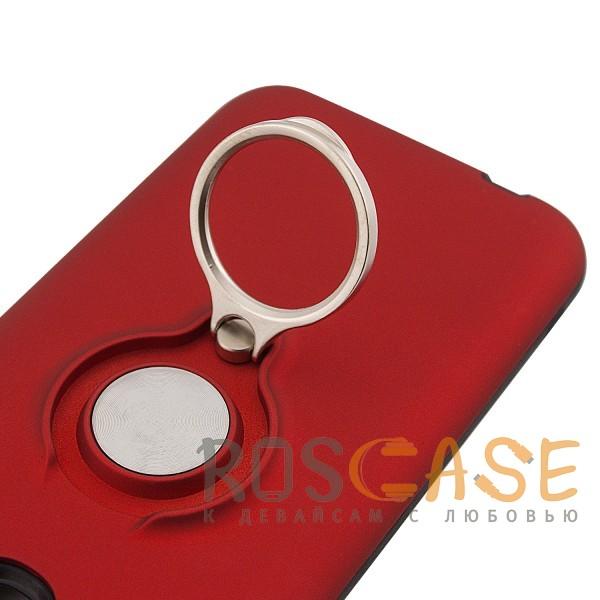 Фотография Красный Deen | Матовый чехол для Samsung J330 Galaxy J3 (2017) с креплением под магнитный держатель и кольцом-подставкой