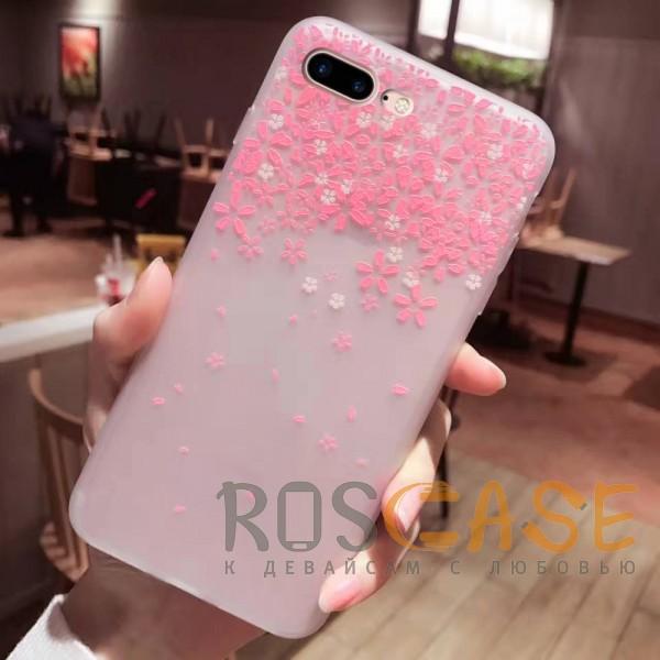 Фото Цветы Розовый Силиконовый матовый чехол с принтом для iPhone 7 Plus / 8 Plus