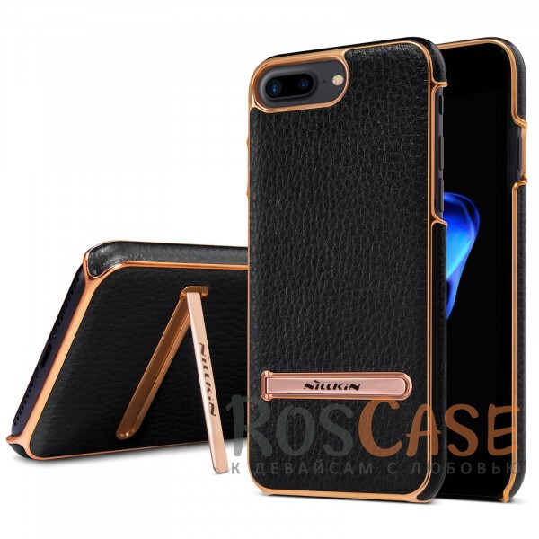 Кожаная накладка с подставкой для Apple iPhone 7 plus / 8 plus (5.5) (Черный)Описание:производитель  - &amp;nbsp;Nillkin;разработан для Apple iPhone 7 plus / 8 plus (5.5);материалы  -  искусственная кожа, металл;тип  -  накладка.&amp;nbsp;Особенности:элегантный дизайн;в наличии функциональные вырезы;не видны отпечатки пальцев;металлическая окантовка;защищает от царапин и падений;функция подставки.<br><br>Тип: Чехол<br>Бренд: Nillkin<br>Материал: Искусственная кожа