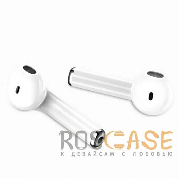 Изображение Белый USAMS-LU001 | Беспроводные наушники Bluetooth с микрофоном и кейсом подзарядкой (Док-станция)