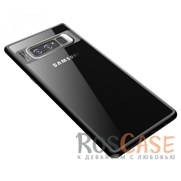 Прозрачный пластиковый чехол с антиударным бампером и защитой камеры для Samsung Galaxy Note 8 (Черный / Black)Описание:совместим с Samsung Galaxy Note 8;производитель: ROCK;ультратонкий дизайн;защита задней панели и боковых граней;материал - TPU, пластик;тип - накладка;защищает от ударов и царапин;предусмотрены все необходимые функцильнальные&amp;nbsp;вырезы.<br><br>Тип: Чехол<br>Бренд: ROCK<br>Материал: Поликарбонат