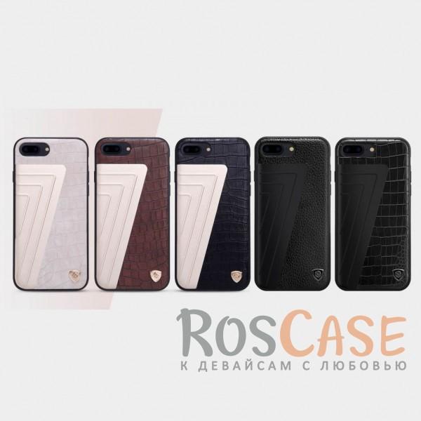 Кожаная накладка Nillkin Hybrid Series для Apple iPhone 7 plus (5.5)Описание:произведено брендом&amp;nbsp;Nillkin;совместимость - Apple iPhone 7 plus (5.5);материалы: поликарбонат, термополиуретан, металл, искусственная кожа;тип: накладка.&amp;nbsp;Особенности:оригинальный дизайн;вставка с фактурой крокодиловой кожи;двухцветный стиль;анти-отпечатки;не скользит в руках;защищает заднюю панель и боковые грани.<br><br>Тип: Чехол<br>Бренд: Nillkin<br>Материал: Натуральная кожа