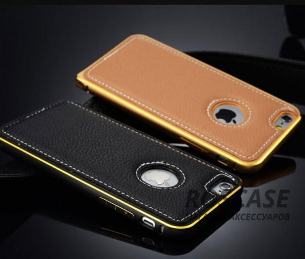 Фотография Модный металлический бампер с усиленной защитой краев и кожаной задней панелью для Apple iPhone 5/5S/SE
