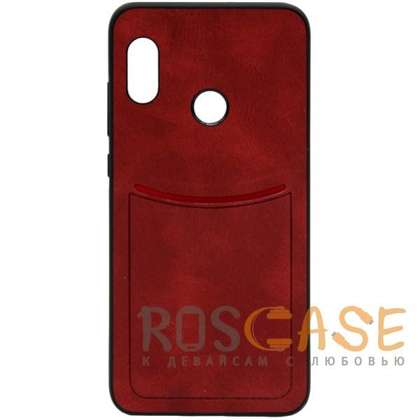 Фото Красный ILEVEL | Чехол с кожаным покрытием и с карманом-визитницей для Xiaomi Redmi Note 5 Pro / Note 5 (AI Dual Camera)