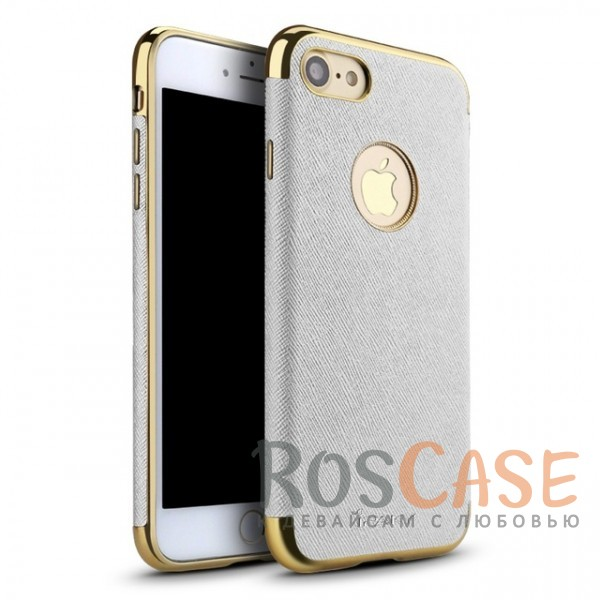 Текстурная накладка Luxury Armor с хромированными золотистыми вставками для Apple iPhone 7 (4.7) (Белый)Описание:производитель: iPaky;создана для&amp;nbsp;Apple iPhone 7 (4.7);материал изделия: искусственная кожа, хромированный пластик;конфигурация: накладка.Особенности:двухцветный дизайн;рельефная фактура;встроенная металлическая пластина;наличие всех функциональных вырезов;защита от царапин и ударов.<br><br>Тип: Чехол<br>Бренд: iPaky<br>Материал: Искусственная кожа