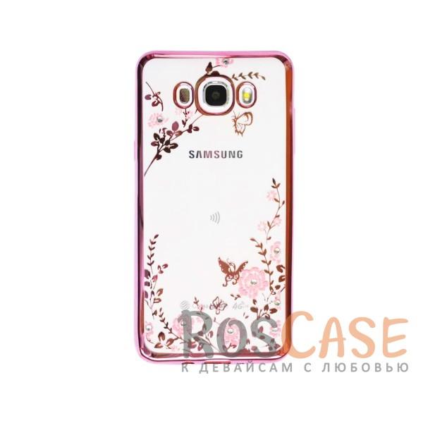 Прозрачный чехол с цветами и стразами для Samsung J710F Galaxy J7 (2016) с глянцевым бампером (Розовый золотой/Розовые цветы)Описание:совместим с Samsung J710F Galaxy J7 (2016);материал - термополиуретан;тип - накладка.&amp;nbsp;Особенности:прозрачный;изящный рисунок;украшен стразами;защищает от царапин и ударов;не скользит в руках.<br><br>Тип: Чехол<br>Бренд: Epik<br>Материал: TPU