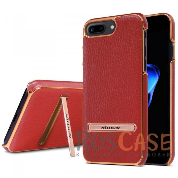 Кожаная накладка с подставкой Nillkin M-Jarl Series для Apple iPhone 7 plus (5.5) (Красный)Описание:производитель  - &amp;nbsp;Nillkin;разработан для Apple iPhone 7 plus (5.5);материалы  -  искусственная кожа, металл;тип  -  накладка.&amp;nbsp;Особенности:элегантный дизайн;в наличии функциональные вырезы;не видны отпечатки пальцев;металлическая окантовка;защищает от царапин и падений;функция подставки.<br><br>Тип: Чехол<br>Бренд: Nillkin<br>Материал: Искусственная кожа
