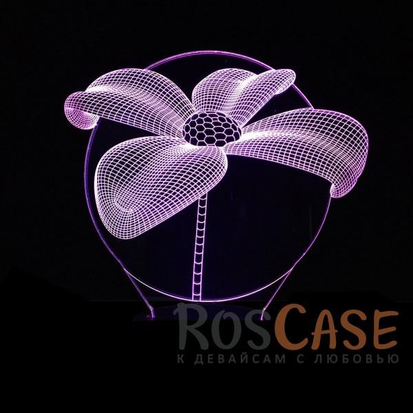 """Фотография Цветок Светодиодный 3D светильник-ночник с проекцией объемного изображения """"Цветок"""""""