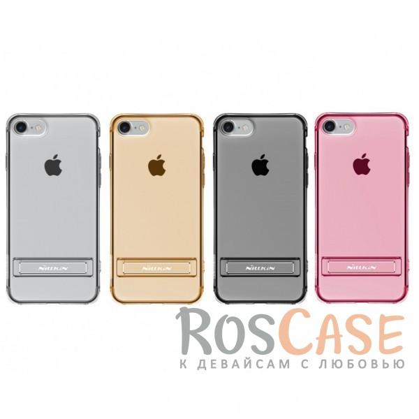 Прозрачный силиконовый чехол с подставкой и усиленной защитой углов для Apple iPhone 7 / 8 (4.7)Описание:компания  - &amp;nbsp;Nillkin;совместим с Apple iPhone 7 / 8 (4.7);материал  -  термополиуретан;формат  -  накладка.&amp;nbsp;Особенности:выступы над экраном и камерой;ударопрочный;функция подставки;защита от ударов, пыли и царапин;прозрачный.<br><br>Тип: Чехол<br>Бренд: Nillkin<br>Материал: TPU