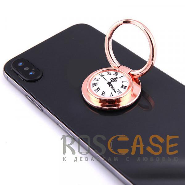 """Фотография Розовый Универсальный магнитный держатель с кольцом для телефона """"Часы"""""""