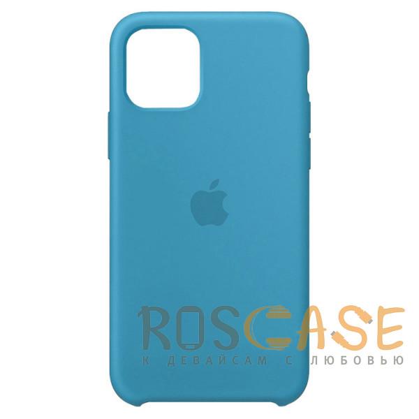 Фото Голубой Силиконовый чехол Silicone Case с микрофиброй для iPhone 11 Pro
