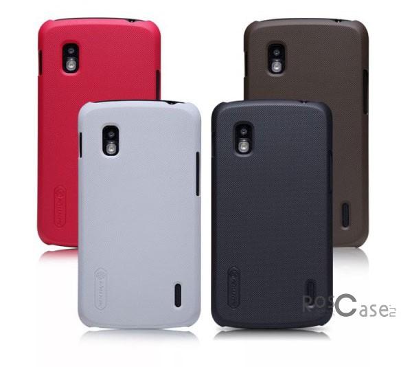 Чехол Nillkin Matte для LG E960 Nexus 4 (+ пленка)Описание:компания производитель: Nillkin;совместим с LG E960 Nexus 4;используемые материалы: пластик;форма чехла: накладка.&amp;nbsp;Особенности:текстурированная поверхность;не скользит;предусмотрен полный набор функциональных вырезов;антикислотное напыление;бонусная пленка для экрана;плотное прилегание;визуально не увеличивает габариты устройства.<br><br>Тип: Чехол<br>Бренд: Nillkin<br>Материал: Поликарбонат