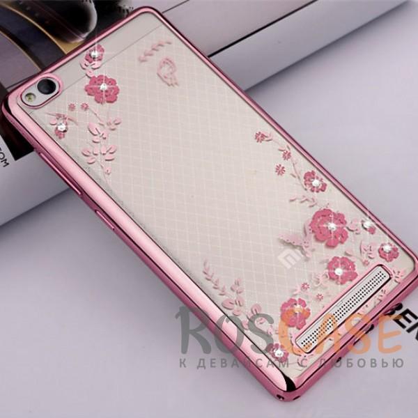 Прозрачный чехол с цветами и стразами для Xiaomi Redmi 4a с глянцевым бампером (Розовый золотой/Розовые цветы)