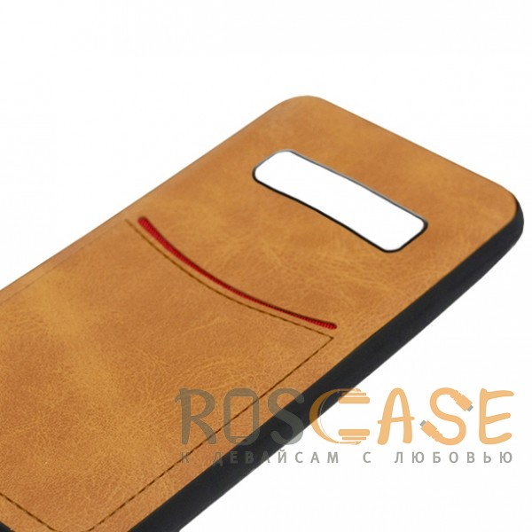 Фотография Светло-коричневый ILEVEL | Чехол с кожаным покрытием и с карманом-визитницей для Samsung Galaxy S10