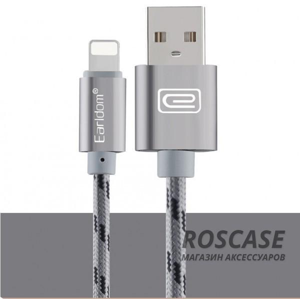 Дата кабель lightning для iPhone 5/5s/SE/6/6 Plus/6s/6s Plus /7/7Plus плетеный Earldom 1m с клипсой (Серый)Описание:бренд  -  Earldom;материал  -  TPE, нейлон;подходит для устройств с разъемом lightning;тип  -  кабель для синхронизации и зарядки.&amp;nbsp;Особенности:плетеная оплетка;разъемы: USB, lightning;длина  -  1 метр;прочный;гибкий;ремешок-клипса;быстрая скорость передачи данных.&amp;nbsp;<br><br>Тип: USB кабель/адаптер<br>Бренд: Epik