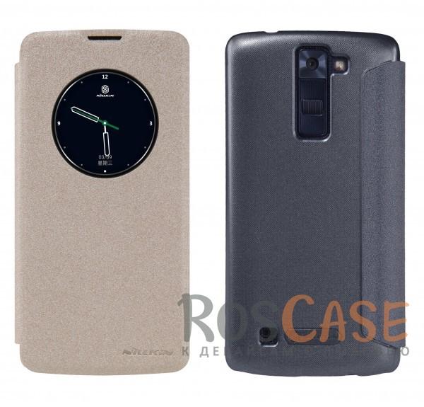 Кожаный чехол (книжка) Nillkin Sparkle Series для LG K8 K350EОписание:компания -&amp;nbsp;Nillkin;разработан для LG K8 K350E;материалы  -  синтетическая кожа, поликарбонат;форма  -  чехол-книжка.&amp;nbsp;Особенности:защищает со всех сторон;имеет все необходимые вырезы;легко чистится;окошко в обложке;функция Sleep mode;не увеличивает габариты;защищает от ударов и царапин;морозоустойчивый.<br><br>Тип: Чехол<br>Бренд: Nillkin<br>Материал: Искусственная кожа