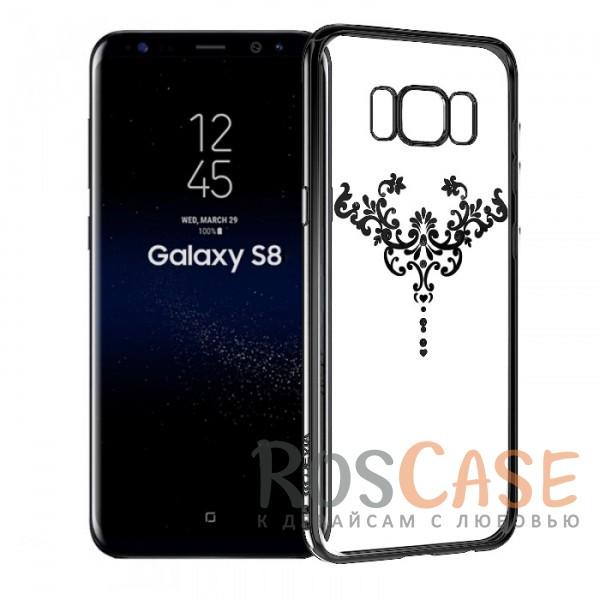 Прозрачная силиконовая накладка со стразами Devia Crystal Iris и витым узором для Samsung G950 Galaxy S8 (Черный)Описание:производитель - Devia;чехол разработан с учетом особенностей&amp;nbsp;Samsung G950 Galaxy S8;предусмотрены все функциональные вырезы;материал - силикон;глянцевая окантовка с тончайшим гальваническим покрытием;кристаллы Swarovski;изящный узор;формат - накладка на заднюю панель.<br><br>Тип: Чехол<br>Бренд: Epik<br>Материал: TPU