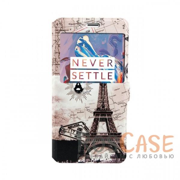 Чехол-книжка с принтом и окошком для OnePlus 3 / OnePlus 3T (Эйфелева башня - светлый фон)<br><br>Тип: Чехол<br>Бренд: Epik<br>Материал: Искусственная кожа