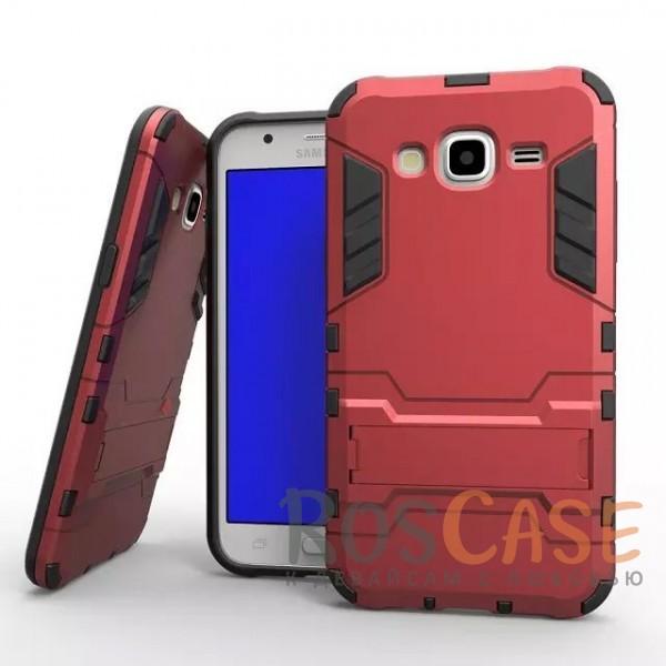 Ударопрочный чехол-подставка Transformer для Samsung J500H Galaxy J5 с мощной защитой корпуса (Красный / Dante Red)Описание:подходит для Samsung J500H Galaxy J5;материалы: термополиуретан, поликарбонат;формат: накладка.&amp;nbsp;Особенности:функциональные вырезы;функция подставки;двойная степень защиты;защита от механических повреждений;не скользит в руках.<br><br>Тип: Чехол<br>Бренд: Epik<br>Материал: TPU