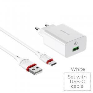 СЗУ быстрая зарядка Borofone BA21A (1USB / 3A) + кабель type-C 1м для Samsung Galaxy S10 Plus