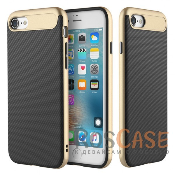 Тонкий защитный чехол с карбоновой вставкой и прочной окантовкой для Apple iPhone 7 / 8 (4.7) (Золотой / Gold)Описание:фирма:&amp;nbsp;Rock;совместимость: Apple iPhone 7 / 8 (4.7);материал: термопластичный полиуретан и поликарбонат;вид: накладка.&amp;nbsp;<br><br>Тип: Чехол<br>Бренд: ROCK<br>Материал: TPU