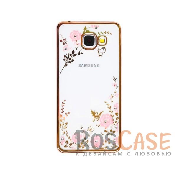 Прозрачный чехол с цветами и стразами для Samsung A510F Galaxy A5 (2016) с глянцевым бампером (Золотой/Розовые цветы)Описание:совместим с Samsung A510F Galaxy A5 (2016);материал - термополиуретан;тип - накладка.&amp;nbsp;Особенности:прозрачный;изящный рисунок;украшен стразами;защищает от царапин и ударов;не скользит в руках.<br><br>Тип: Чехол<br>Бренд: Epik<br>Материал: TPU