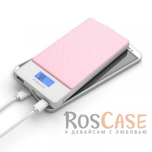 Фото Розовый Портативное зарядное устройство в противоударном корпусе с ЖК дисплеем и 2 разъемами microUSB/Type-C 10000mAh