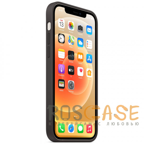 Изображение Черный Силиконовый чехол Silicone Case с микрофиброй для iPhone 12 Pro Max