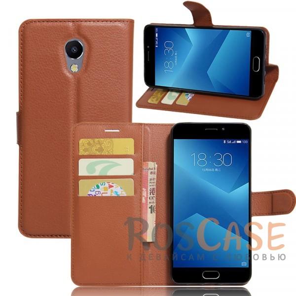 Гладкий кожаный чехол-бумажник на магнитной застежке Wallet с функцией подставки и внутренними карманами для Meizu M5 Note (Коричневый)Описание:совместим с Meizu M5 Note;материалы  -  искусственная кожа, TPU;форма  -  чехол-книжка;фактурная поверхность;предусмотрены все функциональные вырезы;кармашки для визиток/кредитных карт/купюр;магнитная застежка;защита от механических повреждений.<br><br>Тип: Чехол<br>Бренд: Epik<br>Материал: Искусственная кожа