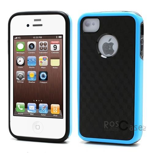 TPU+PC чехол 3D Cube Series для Apple iPhone 4/4S (Черный / голубой)Описание:производитель -&amp;nbsp;Epik;совместимость: Apple iPhone 4/4S;материал: термополиуретан;форма: накладка.Особенности:эластичный;стильный и современный дизайн;высокое качество материалов;легкость установки и снятия;не увеличивает размеры устройства.<br><br>Тип: Чехол<br>Бренд: Epik<br>Материал: TPU