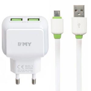 "EMY MY-220 | Сетевое зарядное устройство (2USB 2.4A) + кабель MicroUSB для Apple iPhone 7 Plus (5.5"")"