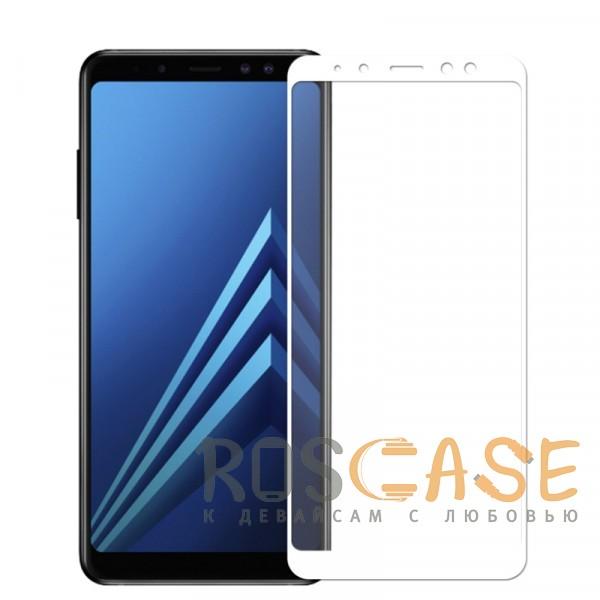 Фото Белое 5D защитное стекло для Samsung A730 Galaxy A8+ (2018) на весь экран