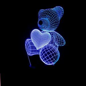 """Светодиодный 3D светильник-ночник с проекцией объемного изображения """"Мишка с сердечком"""""""