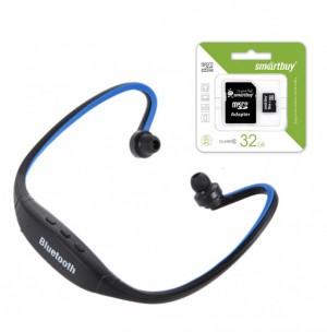 Комплект ZK-S9 | Спортивные беспроводные наушники bluetooth с микрофоном (слот для microSD) + Карта памяти SmartBuy microSDHC 32 GB Card Class 10 + SD adapter