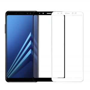 Защитное стекло с цветной рамкой на весь экран для Samsung A530 Galaxy A8 (2018)