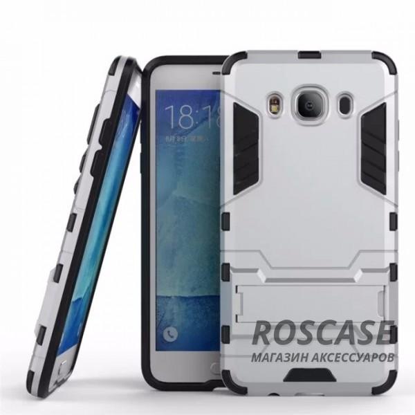 Ударопрочный чехол-подставка Transformer для Samsung J510F Galaxy J5 (2016) с мощной защитой корпуса (Серебряный / Satin Silver)Описание:подходит для Samsung J510F Galaxy J5 (2016);материалы: термополиуретан, поликарбонат;формат: накладка.&amp;nbsp;Особенности:функциональные вырезы;функция подставки;двойная степень защиты;защита от механических повреждений;не скользит в руках.<br><br>Тип: Чехол<br>Бренд: Epik<br>Материал: TPU