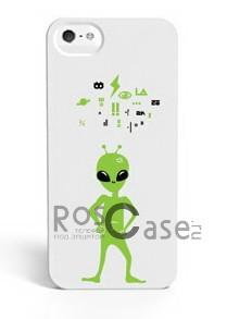 """Изображение #Светящаяся накладка SleekOn """"Инопланетянин и символы""""/ Alien Words для Apple iPhone 5/5S"""
