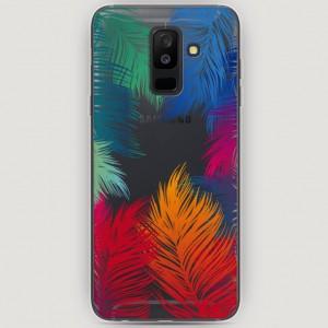 RosCase | Силиконовый чехол Рамка из перьев на Samsung Galaxy A6 Plus (2018)