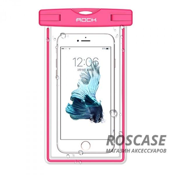 Водонепроницаемый чехол Rock Light (Розовый / Pink)Описание:производитель -&amp;nbsp;Rock;совместимость: смартфоны с диагональю до 6-ти дюймов;используемый материал: мягкий пластик;форма: чехол.Особенности:износостойкий;светится в темноте;стильный;ультратонкий;защита от влаги;погружение от 1,5 до 30-ти метров;максимальное время - 30 минут.<br><br>Тип: Чехол<br>Бренд: ROCK<br>Материал: Пластик