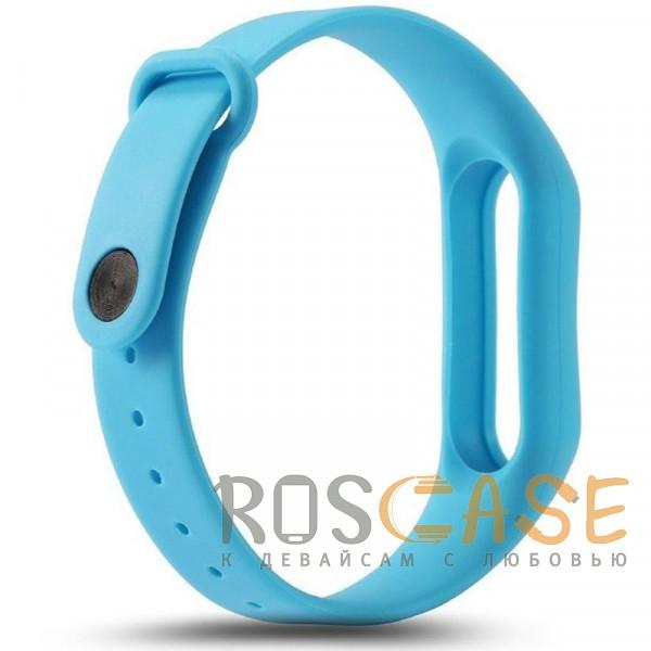 Фотография Голубой Одноцветный силиконовый ремешок для фитнес-браслета Xiaomi Mi Band 2