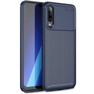 Силиконовый матовый чехол с текстурой Карбон для Samsung Galaxy A70 (A705F)