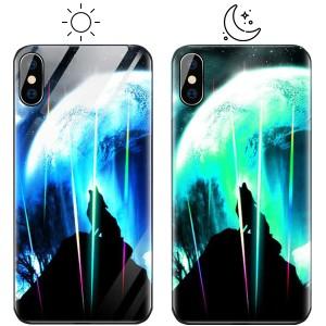 """Светящийся в темноте чехол для Apple iPhone X (5.8"""") со стеклянным покрытием и принтом"""