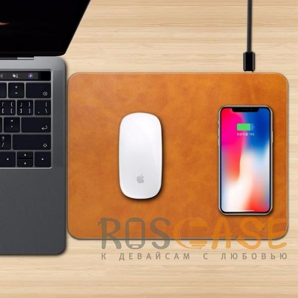 Фотография Светло-коричневый Коврик с беспроводной зарядкой для мыши и телефона