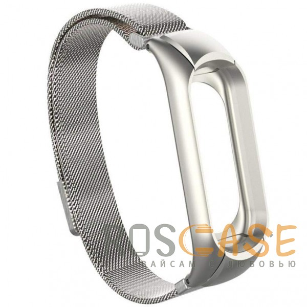 Изображение Серебряный Xiaomi Mi Band 3 | Металлический ремешок для фитнес-браслета с миланской петлей