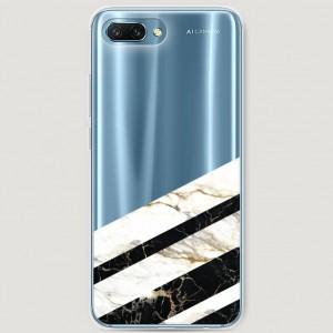 RosCase | Силиконовый чехол Черно-белый мрамор половинка на Huawei Honor 10