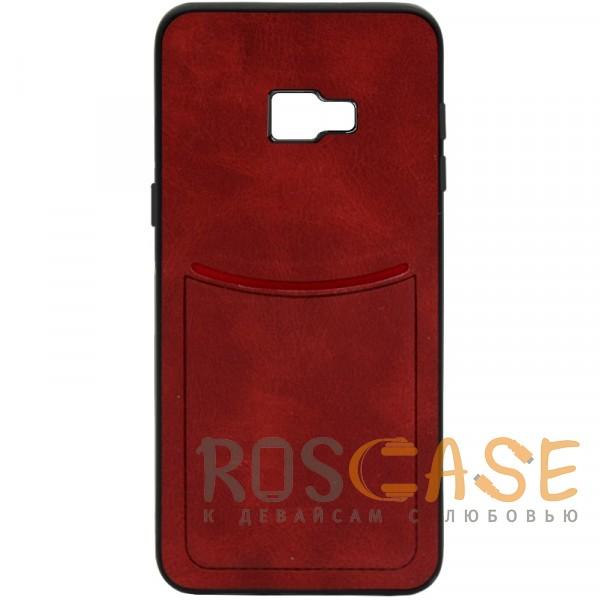 Фото Красный ILEVEL | Чехол с кожаным покрытием и с карманом-визитницей для Samsung J410F Galaxy J4 Core (2018)