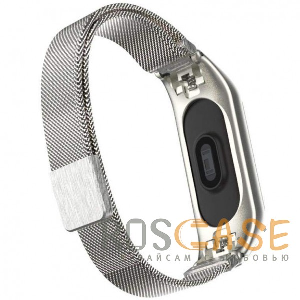 Фото Серебряный Xiaomi Mi Band 3 | Металлический ремешок для фитнес-браслета с миланской петлей