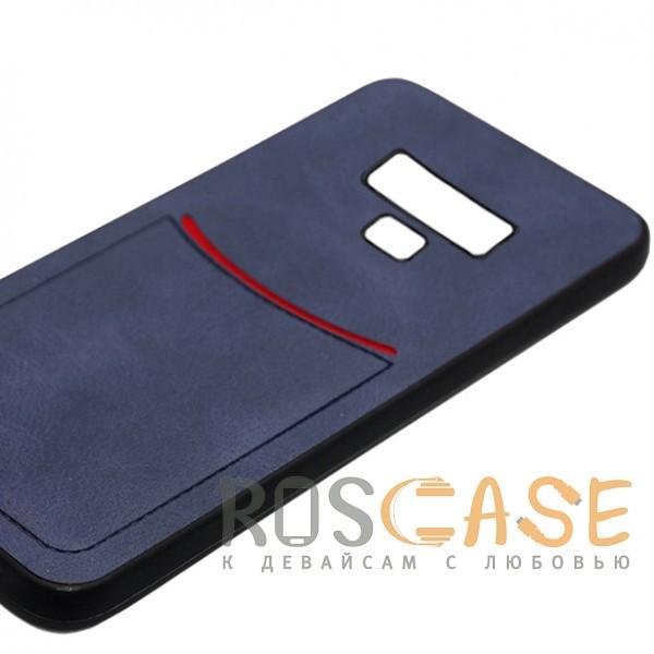 Фото Синий ILEVEL | Чехол с кожаным покрытием и с карманом-визитницей для Samsung Galaxy Note 9