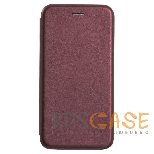 Фотография Бордовый Open Color | Кожаный чехол-книжка для Huawei P40 с функцией подставки и магнитом